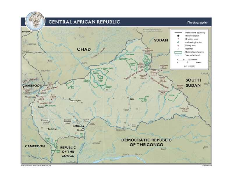 Physiographical map of Central African Republic.