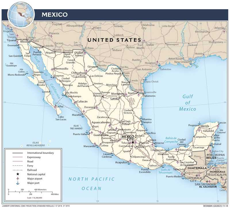 Transportation map of Mexico.