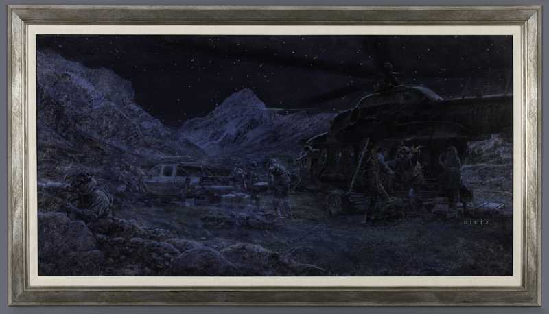 A painting of US soldiers unloading supplies from a Mi-17 helicopter in Afghanistan at night