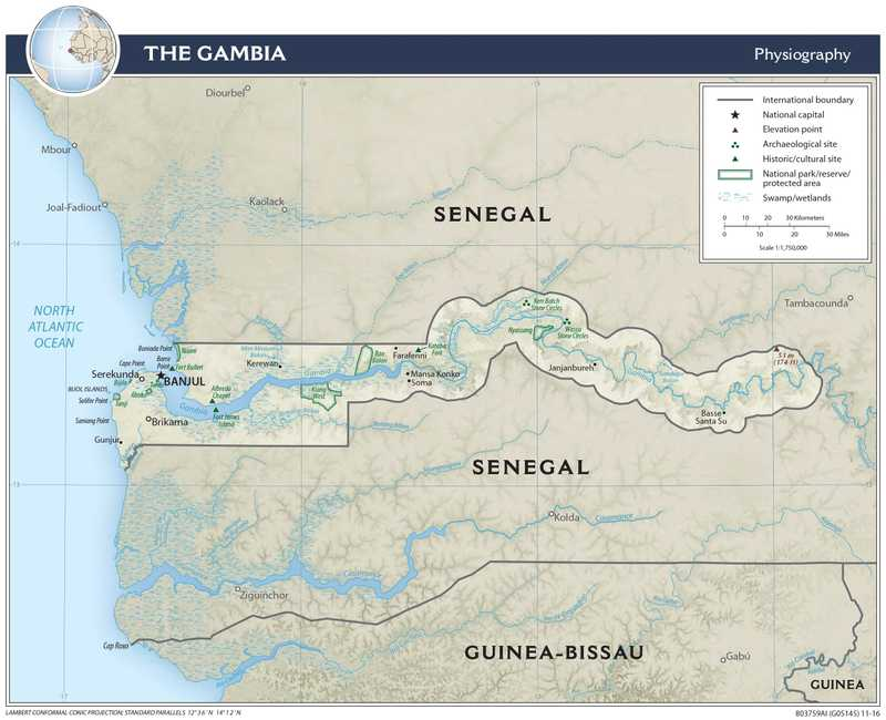 Physiographical map of Gambia.