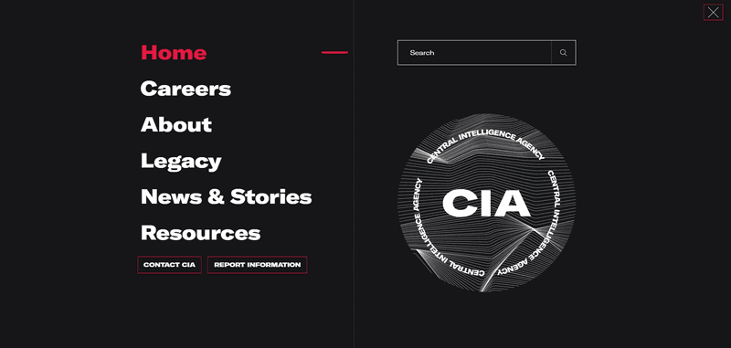 Screenshot showing examples of graphic motifs used in the design of CIA.gov.