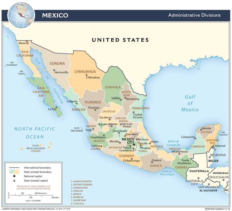 Administrative map of Mexico.