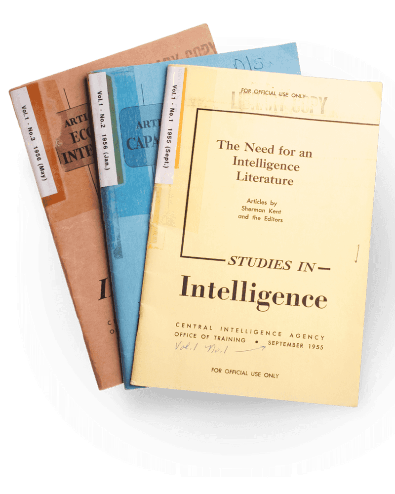 Various covers of The Studies in Intelligence publication from CIA's Center for the Study of Intelligence.