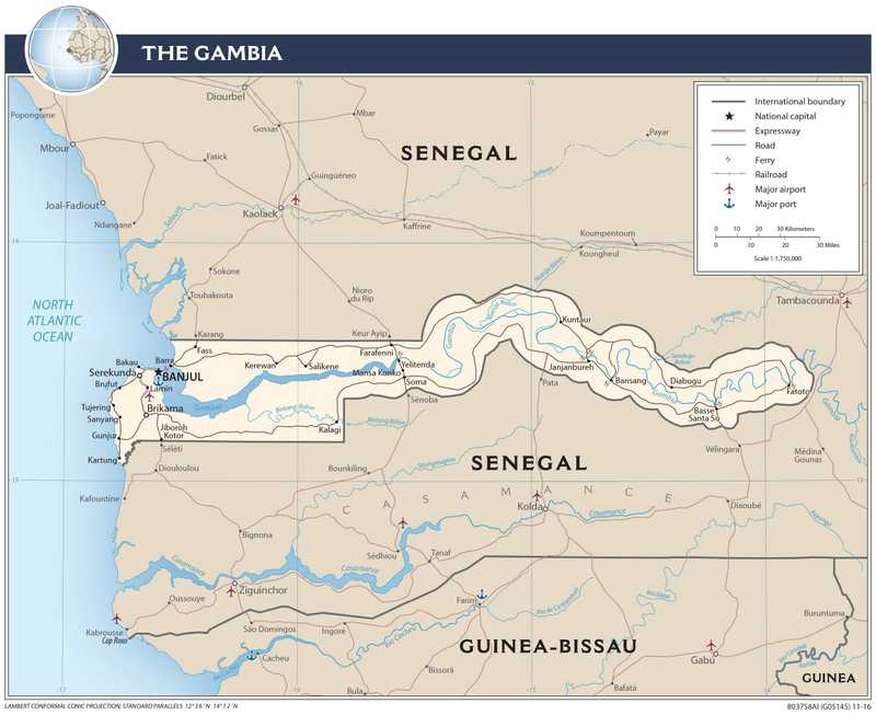 Transportation map of Gambia.