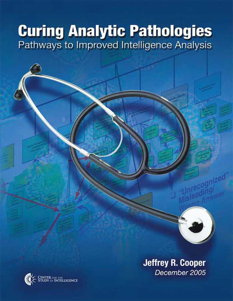 Front blue cover of Curing Analytic Pathologies publication.