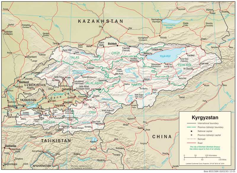 Physiographical map of Kyrgyzstan.