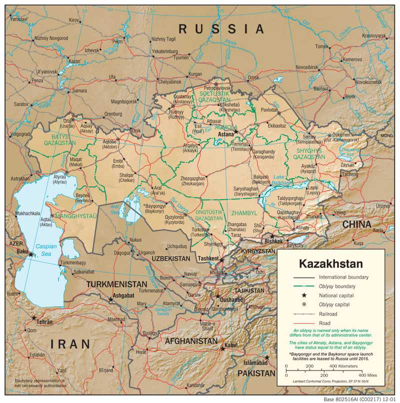 Physiographical map of Kazakhstan.