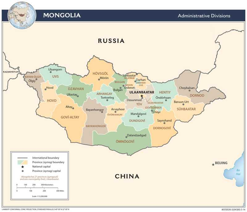Administrative map of Mongolia.