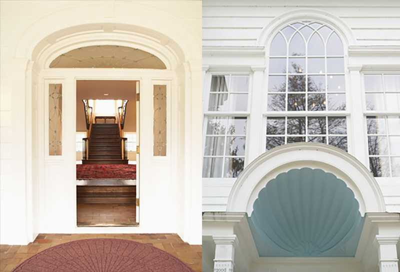 A collage of two images, one close-up view of inside the colonial home and one of the window structures.