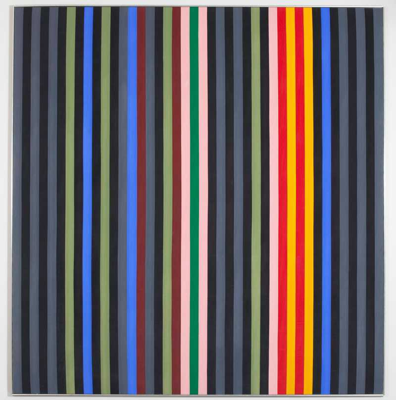 A painting made up of vertical stripes of varying colors