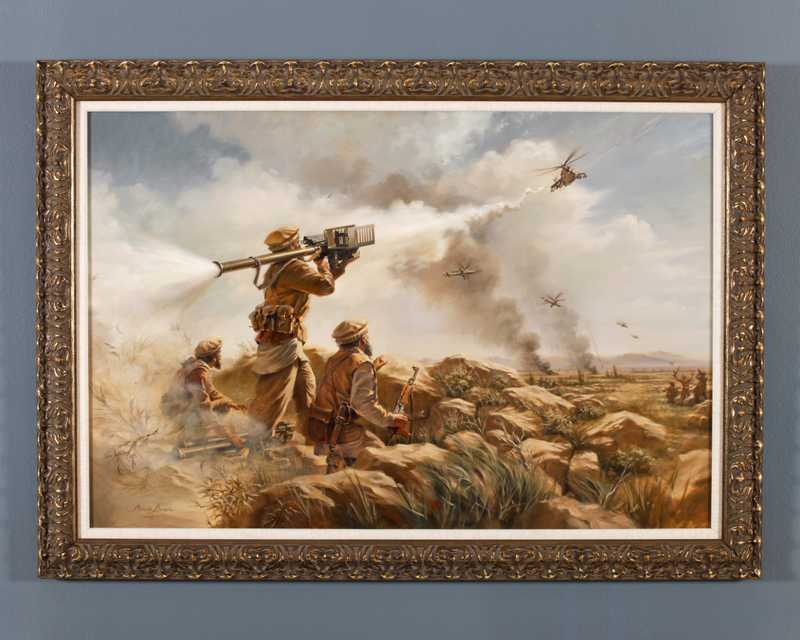 A painting of Mujahedin soldiers firing missiles from the ground at Soviet helicopters