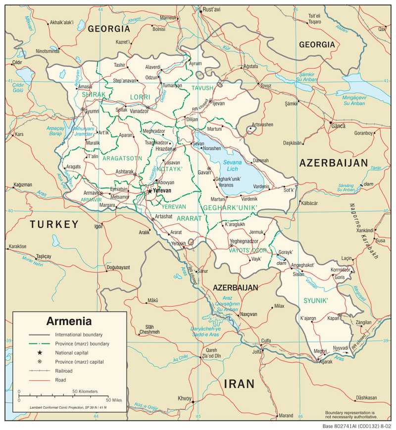Transportation map of Armenia.
