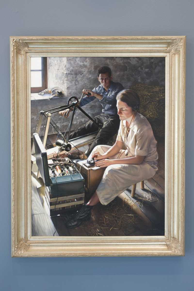 A framed painting of Virginia Hall using a hand wound radio to contact allied forces in London