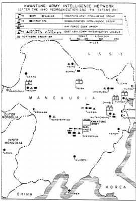 Kwantung Army Intelligence Network map of Manchuria.