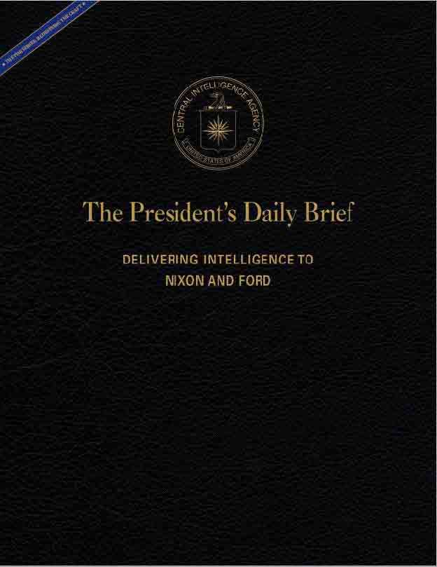The cover of the President's Daily Brief for Nixon and Ford.