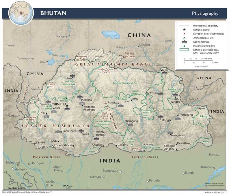 Physiographical map of Bhutan.