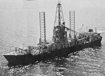 Image of a ship salvaging a sunken Soviet submarine in the Pacific.