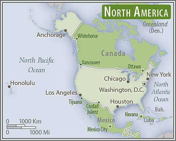 North America - US area comparison map